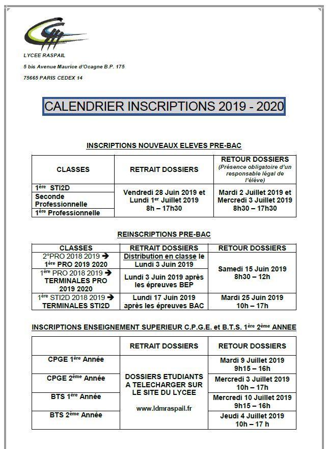 Calendrier Concours Cpge 2019.Lycee Public Technologique Et Professionnel Raspail A Paris 14e